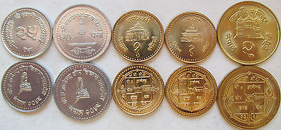 Nepal set of 5 coins 1994+ (25+50 paisa +1+1+2 rupees) UNC