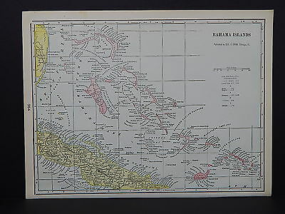 Map of Bahama Islands George F. Cram 1901 Single Sided #6