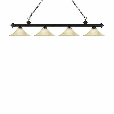 Z-Lite 200-4BRZ-FGM16 Riviera 4 Light Billiard Light Fluted Glass Shades