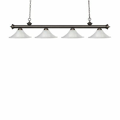 Z-Lite 200-4OB-FWM16 Riviera 4 Light Billiard Light Fluted Glass Shades