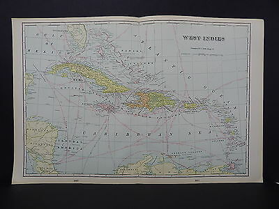 Map of West Indies George F. Cram 1901 Double Side/Page Map W19#06