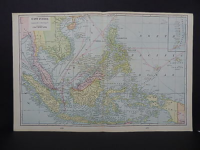 Map of East Indies George F. Cram, 1901 Double Side/Page Map W19#05