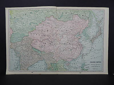 Map of Chinese Empire George F. Cram 1901 Double Page W17#80