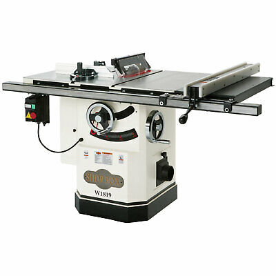 """Shop Fox W1819 10"""" Cabinet Saw w/Riving Knife & Extension Table"""