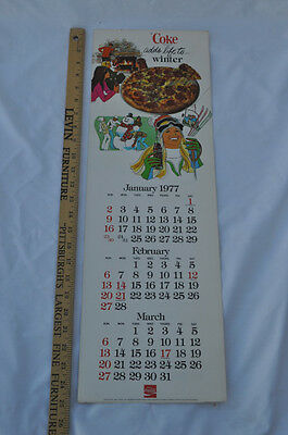 1977 Coca-Cola Coke Paper Calendar 4 Seasons Adds Life To... 4 Pages