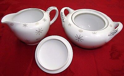 SNOWFLAKE JAPAN Fine China Sugar Bowl w Lid Cream Pitcher Platinum Gold Dots EUC