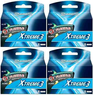 Wilkinson Sword Xtreme 3 System Razor Blades x 32, 4 Packs of 8 Genuine