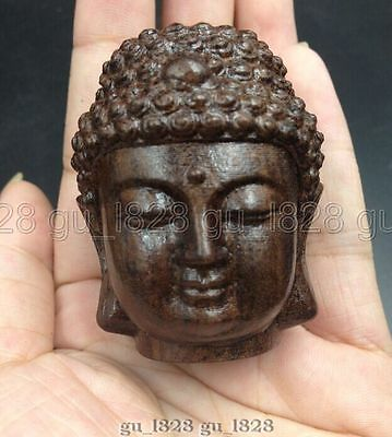 Collectable WOOD Folk Hand-carved Chinese Buddha Head Ornament Statue #D19