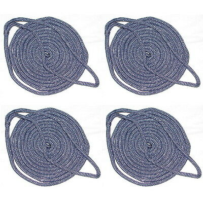 """DOCK LINE 5//8/"""" X 25FT DOUBLE BRAID 2 PACK BLACK BOAT ROPE 40441 BOATINGMALL"""