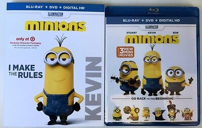 New Sealed Minions Blu Ray Dvd 2 Disc Target Exclusive + Kevin Slipcover Sleeve
