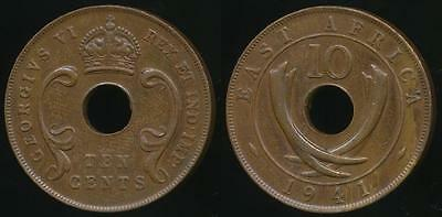 East Africa, British Colonies, 1941 10 Cents, George VI - Extra Fine