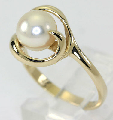 Pearl ring 14K yellow gold 7.4 MM ribbon swirl design lovely affordable sz 6 1/2