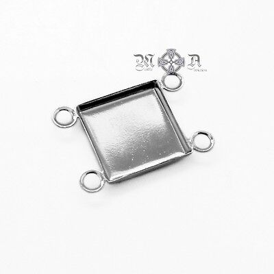 25 x Silver Tone 10mm Square Cabcohon Connector Settings Bezels - Plated Brass