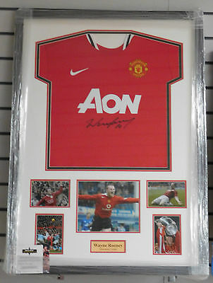 Framed Wayne Rooney Signed Manchester United Shirt Rare COA England Everton