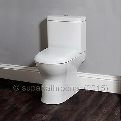 Perth Ceramic Close Coupled WC Toilet Pan, Cistern & Seat