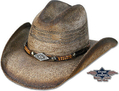 Stroh-Hut Westernhut Cowboyhut »SPEED« Braun Country Western Stars & Stripes