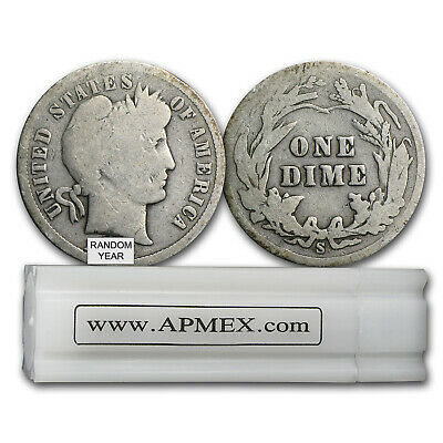 90% Silver Barber Dimes 50-Coin Roll Avg Circ - SKU #5125