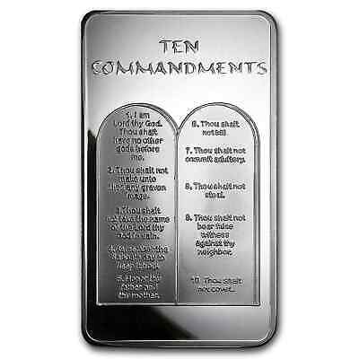 10 oz Silver Bar - Ten Commandments - SKU #59089