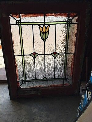 Sg 294 Antique Three Flower Textured Glass Window