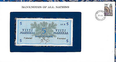Banknotes of All Nations Finland 5 Markkaa 1963 UNC P106Aa.6 Litt. B
