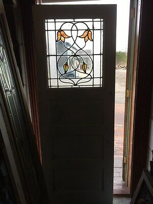 """Ld 106 Antique Pantry Door With Stainglass 29.375"""" X 79.5"""""""