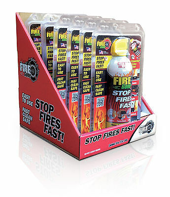 6 Max Professional Fire Gone 16oz. Disposable Fire Extinguishers W/ Display Case