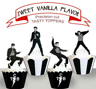 Elvis Presley Jailhouse Rock 50s Birthday Party EDIBLE Cupcake Toppers cup cake