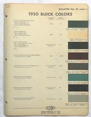 Color Paint Chart On  Buick Terraza