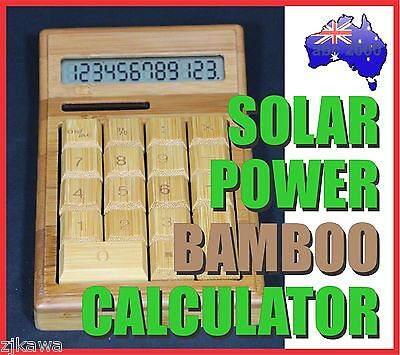 SOLAR POWER NATURAL BAMBOO WOOD CALCULATOR RRP$29.90 each