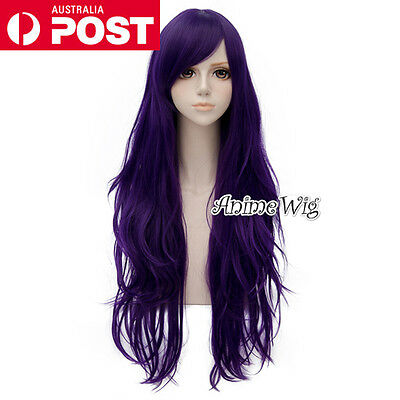 Fashion Dark Purple Long 80CM Wavy Lolita Lady Cosplay Wig Heat Resistant
