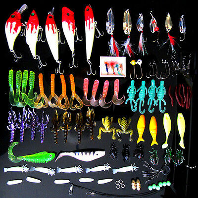 100pcs/Lot Kinds of Fishing Lures Crankbaits Hooks Minnow Bass Bait Tackle + Box
