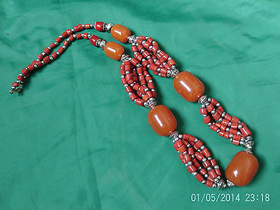 Moroccan Berber Ethnic:Superb Rust Red & Orange multi-threaded Necklace (3) NEW