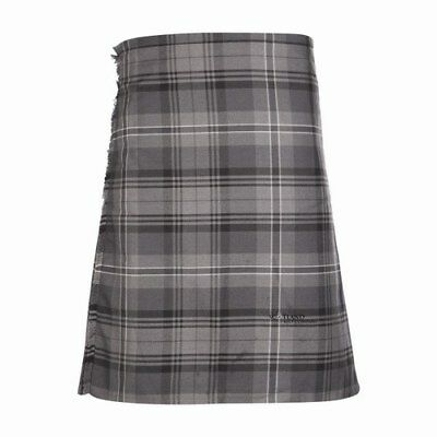 New Scottish Tartan Wedding Mens Kilt 8 Yard Polyviscose in Hamilton Grey