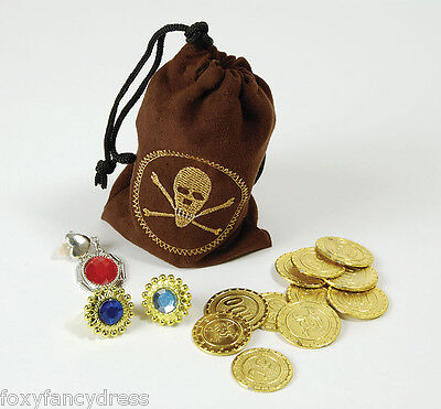 Pirate Money Pouch Loot Bag Coins & Jewellery Pirates Treasure Fancy Dress