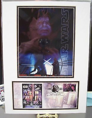Star Wars Usps Matted Framed Emperor Photo & Chewbacca Han Solo Stamp