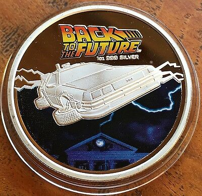 Back To The Future Coin Medallion Finished In Silver .999 1oz Car Movie New ✔️