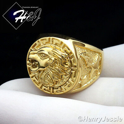 MEN's Stainless Steel Gold Lion Head Eagle Greek Key Round Ring Size 7-13*R83