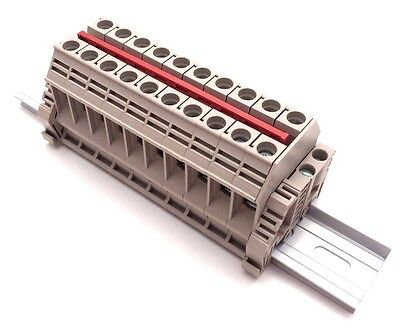 Power Distribution Terminal Blocks 10 Connector DIN Rail Dinkle 6AWG 60A 600V