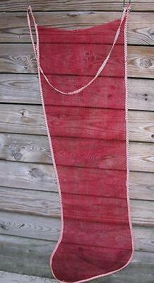 Rare Huge 6 Foot Vtg 1950's Red Mesh Xmas Stocking To Stuff W Toys, For Wall