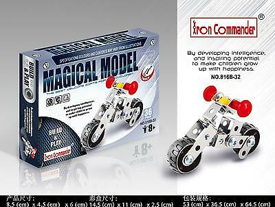 Iron Commander Meccano Style DIY Metal Motorcycle Model Construction Set / Gift