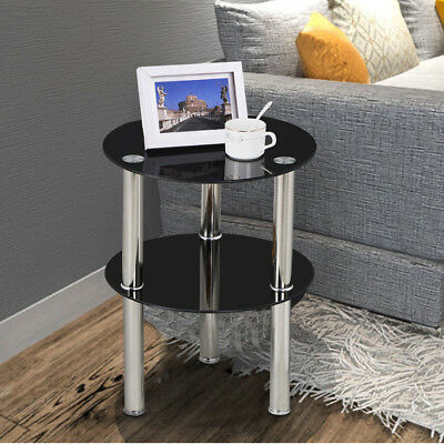 Black 2Tier Glass Stainless Steel Small Display Stand Side End Lamp Coffee Table