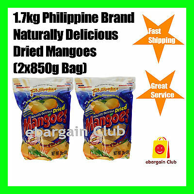 1.7kg Philippine Brand Naturally Delicious Dried Mangoes Mango 2x850g Bag eBClub