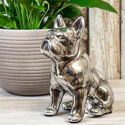 Silver Sitting French Bulldog Ornament Figurine Statue