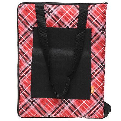 Family Picnic Rug w/ shoulder strap | 135 x 150cm | Self folding | Red Tartan