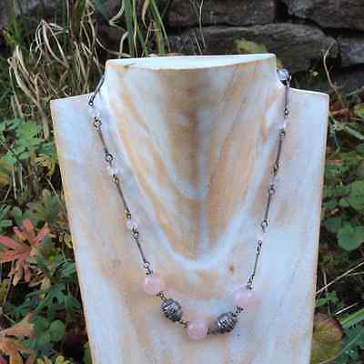 Rose Quartz beads and sterling silver antique Vintage necklace.18inch Irish made