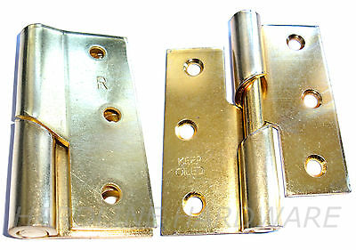 "3"" Right Hand Heavy Duty Rising Butt Hinges Brass Plated 1 Pair + Screws"