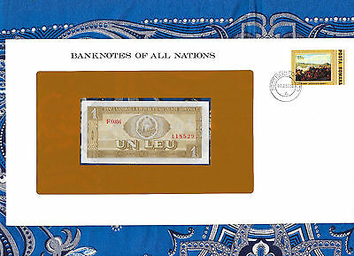 Banknotes of All Nations Romania 1 Leu 1966 UNC P91 Serie F.0034