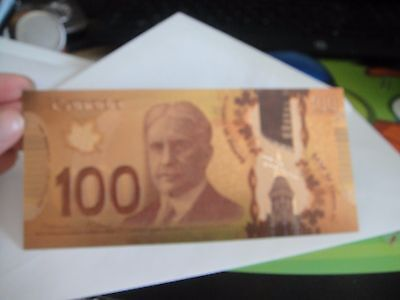 24K Pure Colorized .999 Gold Canada 100 Dollar Bill Bank Note $100 Rare