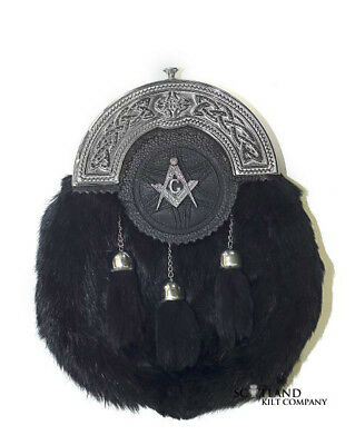 Masonic Targe Shield Chrome Cantle Black Rabbit Kilt Sporran With Chain Belt #38