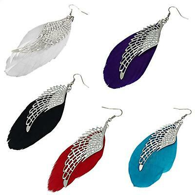 Coloured Pairs Of Real Feather Earrings With Tibetan Silver Angel Wings/Hook/Red